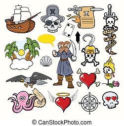 vectors, pirata, caricaturas