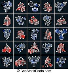 vectors, résumé, shapes., collection, ingénierie, 3d