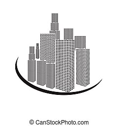 vectors set building black and white on white back ground