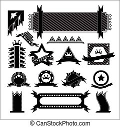 vectors set ribbon black on white