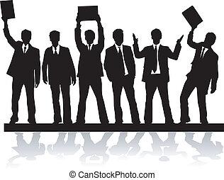 vectors, silhouettes, , 2, noir, homme affaires, travail