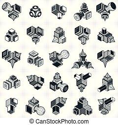 vectors, simple, résumé, formes, géométrique, set., 3d