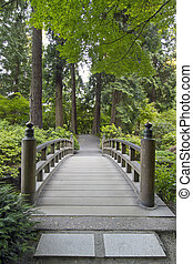ved, bro, hos, japanska trädgård