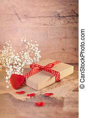 ved, dag, utsmyckningar, valentinkort