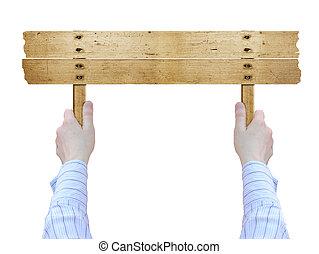 ved, gammal, bord, holdingen,  hand