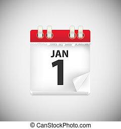 ved, ikonen, illustration, ansökan, vektor, kalender