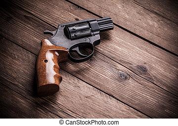 ved, pistol, bakgrund