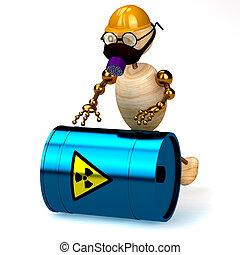 ved, radioaktiv, wast, man, 3