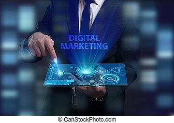 vede, rete, lavorativo, inscription:, marketing, concept., internet, giovane, virtuale, affari, futuro, digitale, uomo affari, schermo, tecnologia