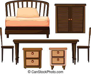 veder, gjord, furnitures