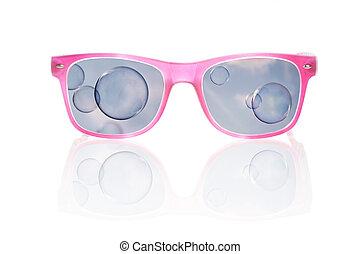 vedere mondo, attraverso, rosa, colorato, glasses.