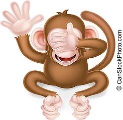 vedere, saggio, scimmia, male, no