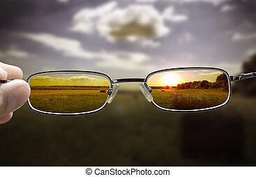 vedere, tramonto, attraverso, occhiali