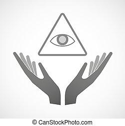 vedere, tutto, occhio, offerta, due mani