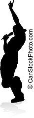 vedette pop, chanteur, rocher, ou, pays, silhouette