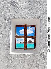 vedra, eiland, ibiza, venster, door, witte , es, aanzicht