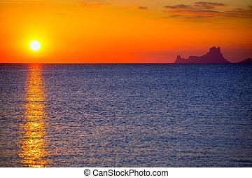 vedra, formentera, ibiza, solnedgång, es, synhåll
