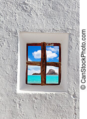 vedra, isola, ibiza, finestra, attraverso, bianco, es, vista