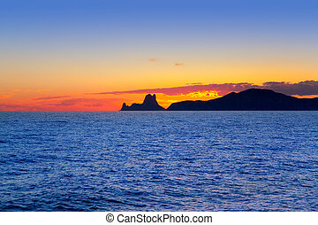 vedra, isola, ibiza, tramonto, fondo, es