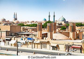 veduta città, antico, iran, yazd