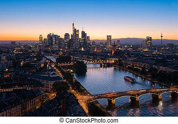 veduta città, principale, francoforte, notte