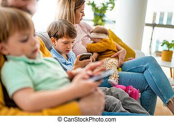 veel, technologie, kinderen, creatief, gebruiken, apparaat, ...