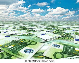 veel, van, euro banknotes, en, sky.