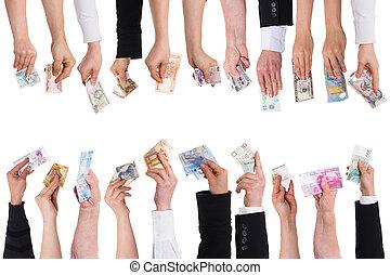 veel, van, handen, met, belangrijk, munten
