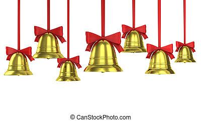 veel, van, kerstklokken, met, rood, linten