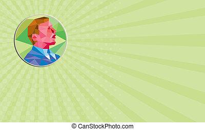 veelhoek, zakelijk, op, het kijken, laag, zakenman, cirkel, kaart