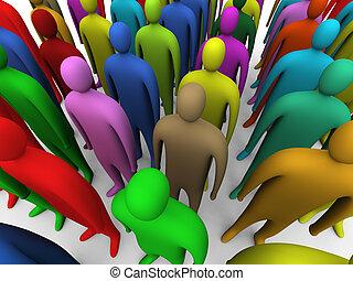 veelkleurig, #1, menigte