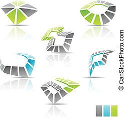 veelkleurig, 3d, abstract, iconen