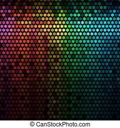 veelkleurig, abstract, lichten, disco, achtergrond., ster, pixel, mozaïek, vector.