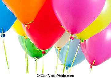 veelkleurig, ballons, lucht