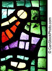 veelkleurig, bevlekt glas raam