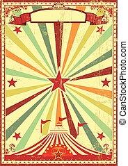 veelkleurig, circus, ouderwetse , sunbeams, achtergrond