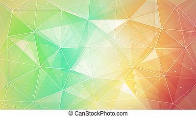 veelkleurig, driehoeken, en, lijnen, model
