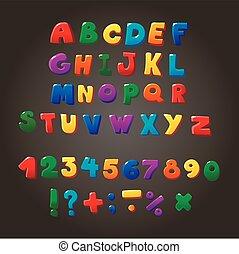 veelkleurig, geitjes, vector, lettertype, brieven, getallen,...