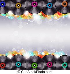 veelkleurig, muziek, vinyl, achtergrond