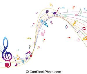 veelkleurig, muzikale aantekeningen