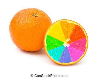 veelkleurig, sinaasappel, vruchten