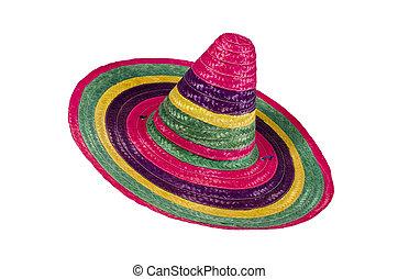 veelkleurig, sombrero, op wit, achtergrond