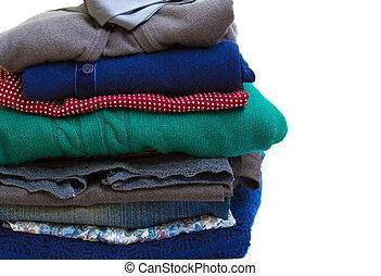 veelkleurig, stapel, kleren