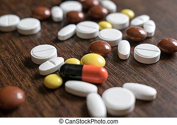 veelkleurig, tablets., medisch, producten, om te vertogen,...