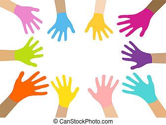 veelkleurig, verzameling, handen