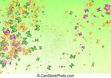 veelkleurig, vlinder, op, een, licht, achtergrond