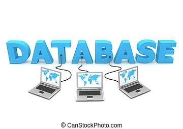 veelvoudig, bekabeld, databank