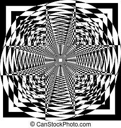 veelvoudig, ruimte, abstract, feitelijk, illusie, perspectief, arabesk, toren, binnen, structuur