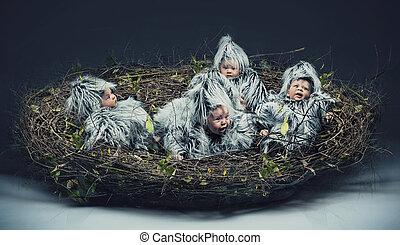 veelvoudig, scène, van, een, bird-child, in, de, nest