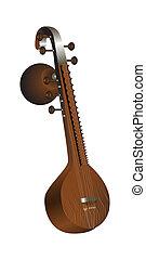 veena., indian, ひもでつながれる, 引き抜かれた, ミュージカル, instrument., ベクトル,...